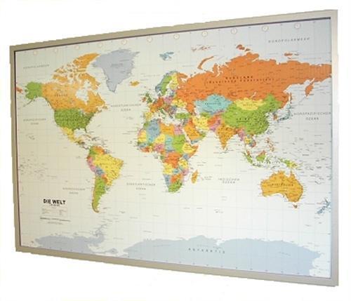 12 Pinn #199067 Weltkarte auf Kork Pinnwand deutsch 90x60cm