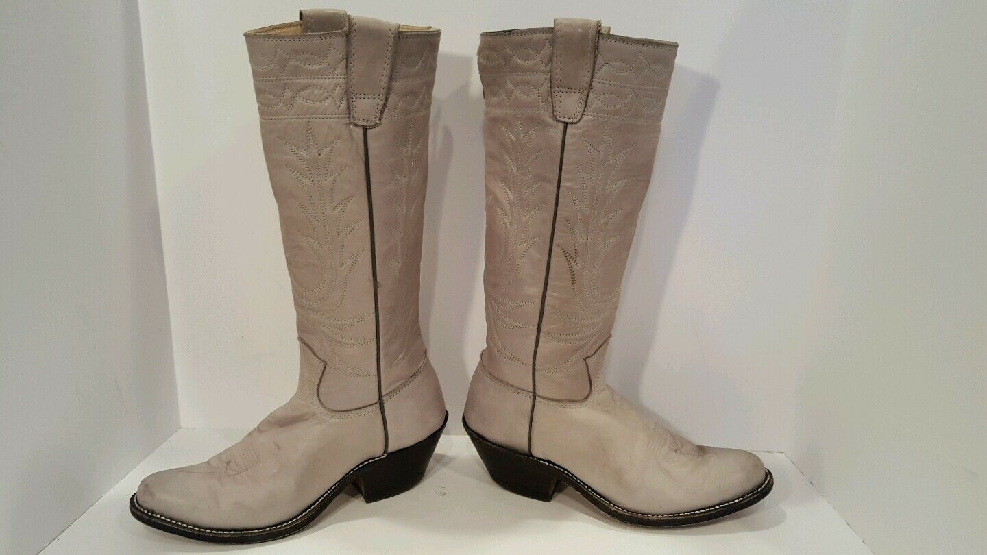 STEWART HAND MADE BOOTS 1977 Vintage Gray Leather Size 7.5