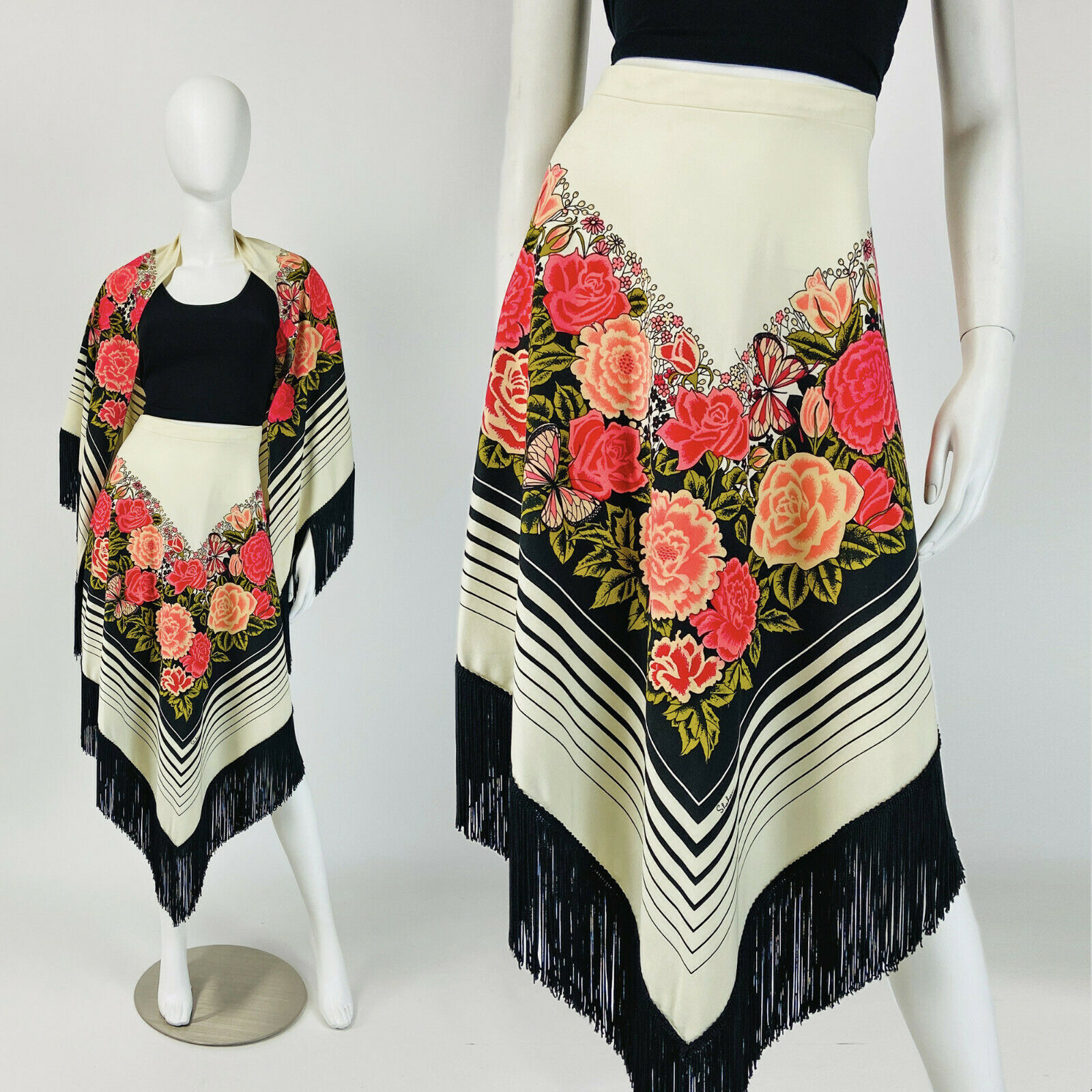 size 6 small S vintage two piece floral outfit 70s novelty print skirt and blouse set