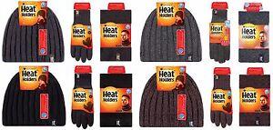 Heat-Holders-Herren-Thermische-Winter-Wollmutze-Nackenwarmer-amp-Handschuhe-Set