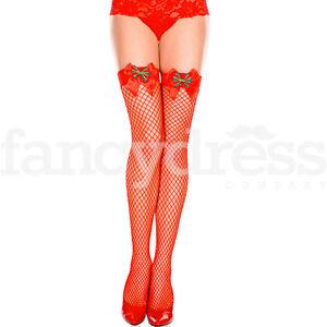 8d89dca4b2fdd Image is loading Miss-Santa-Tartan-Bow-Red-Fishnet-Christmas-Stockings-