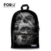 Mens School Fashion Shoulder Bag Junior School Boys Book Bag Skull Backpack