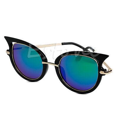 Retro Womens Mirror Sunglasses Metal Frame Golden Leg Cat Eye Shades Eyeglasses