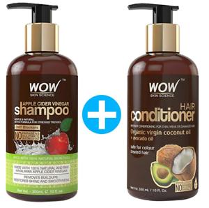 WOW Apple Cider Vinegar Shampoo Twosome No Parabens & Sulphates Hair Care-600 Ml