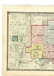 Decatur Illinois Map.1874 Map Of City Of Decatur Illinois From Atlas Of Macon County W