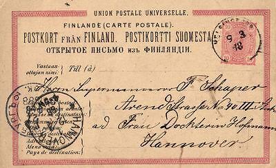 Finnland Gewidmet 10711/ Ganzsache 1888 Nach Hannover Gelaufen