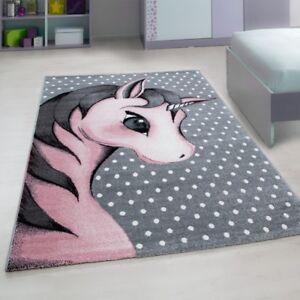 Details about Kids Unicorn Rug Grey Pink White Baby Nursery Round Carpet  Childrens Bedroom Mat