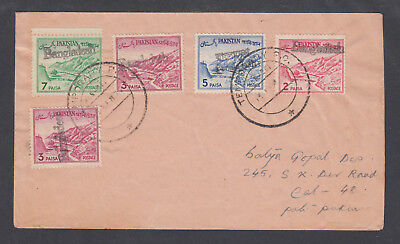 5 Stamps On 1972 Cover To Calcutta Bangladesh Local Pakistan Sc 131/133a