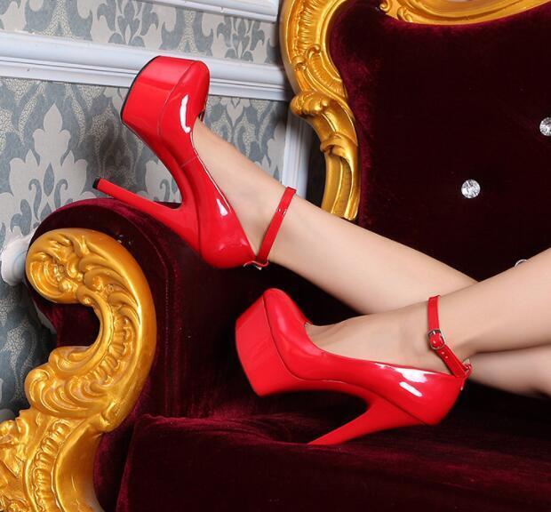 Chaussures femme pompe Plate-forme 15 cm Pompe À Bride À La Cheville Et Talon Bottier Talon Chaussures UK Sz35-42