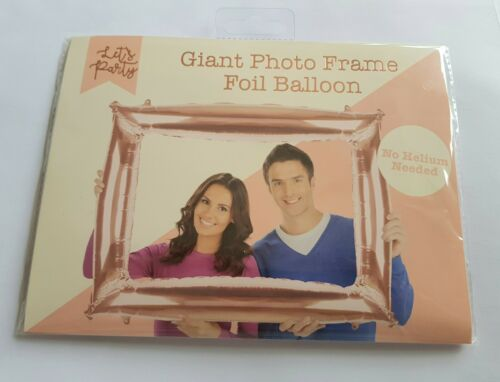 Gran Globo de Oro Rosa Marco Fotos Selfie cabina Prop//Auto Inflar 87CM
