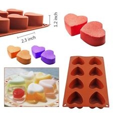 8-Cavity Heart Shape Silicone Mold Cake Candy Jelly Chocolate Mould Baking Pan