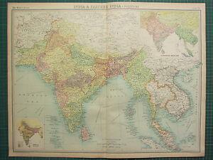 1921 LARGE MAP INDIA FARTHER INDIA MALAY BURMA CAMBODIA SIAM