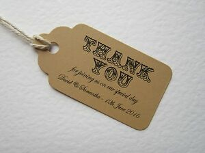 Image Is Loading Personalised Brown Vintage Wedding Thank You Place Cards