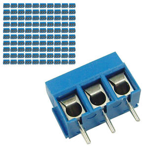 100 pcs 5mm Pitch 300V 16A 3P Poles PCB Screw Terminal Block Connector Blue