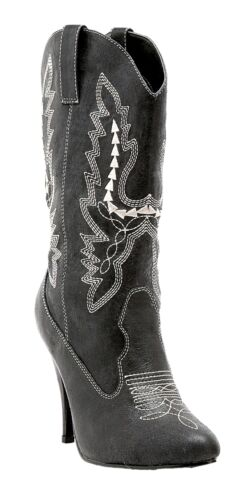 Cowgirl Black Boots Adult Womens Western Suede-Look Halloween Sheriff