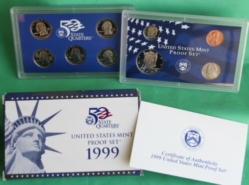 1999 Proof and Uncirculated Annual US Mint Sets PDS 27 Coins 1st State Quarters