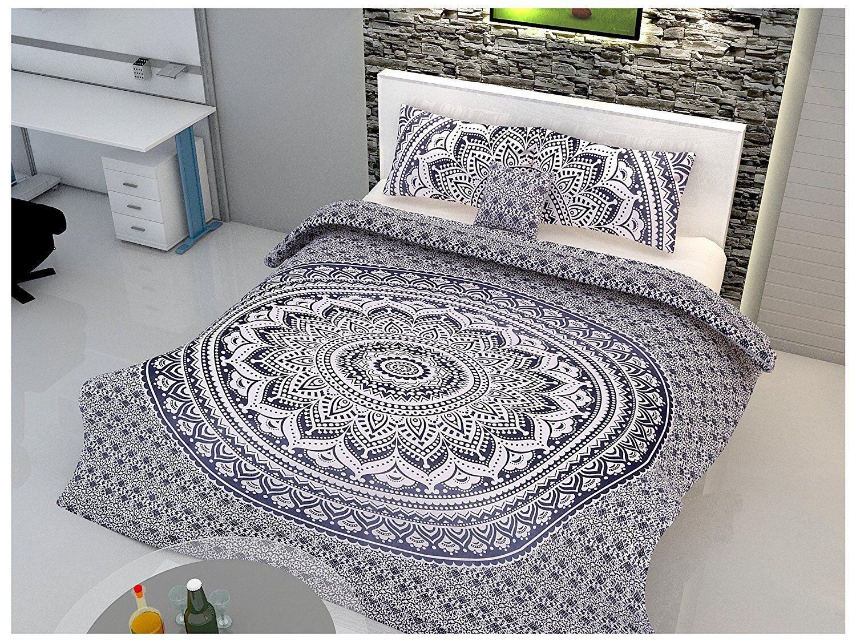 Indian Duvet Doona Mandala Hippie Bohemian Quilt 2 pillow Cover Blanket BedCover