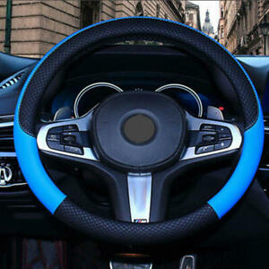 1Pc-New-Car-PVC-Leather-Steering-Wheel-Cover-Anti-slip-Protector-Fit-38cm-Blue
