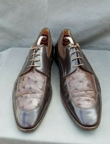 MORESCHI Men's Dress Shoes Brown Leather Ostrich D