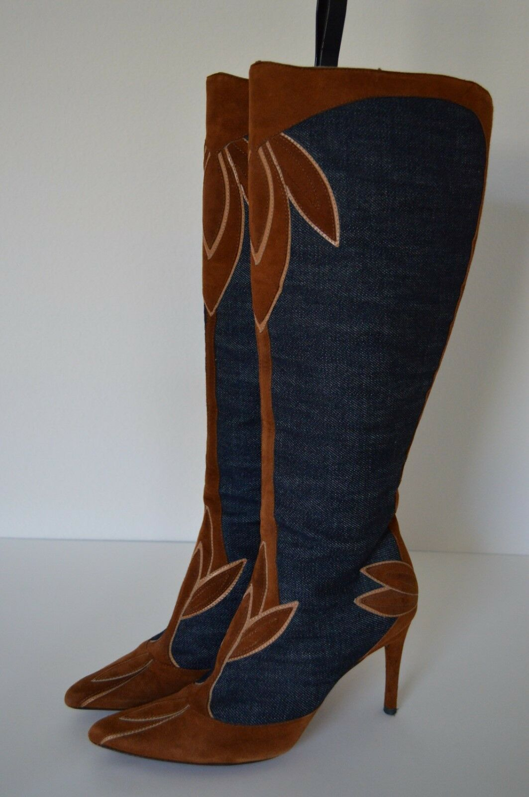 5.5 6 35 DOLCE & GABBANA D&G Denim Suede Leather Tall Pointed Toe Stiletto Boots