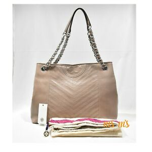 NWT-TORY-BURCH-Fleming-Large-Taupe-Distressed-Leather-Tote-shoulder-Bag-598