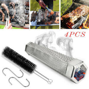 """12"""" Stainless Steel Outdoor Wood Pellet Grill Smoker Filter Tube Pipe Smoke BBQ"""