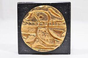 Greek Benaki Museum Paperweight - Gold Bird Coin on Marble Base