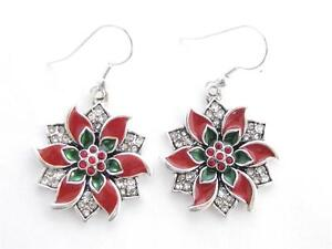 Poinsettia-Red-Green-Crystal-Silver-Hook-Wire-Earrings-Jewelry-Christmas-Holiday