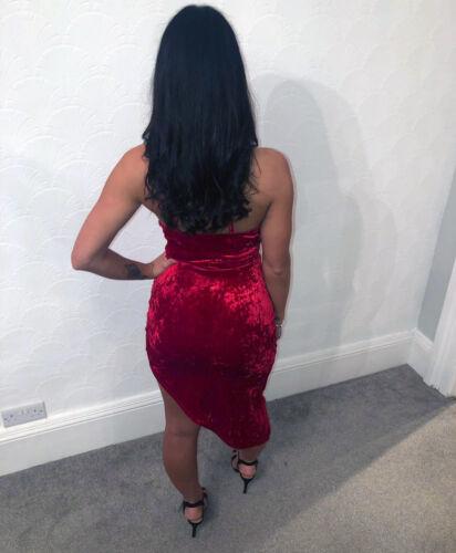Quiz Red Velvet Wrap Front Dress Sleeveless Party Wear Evening Wear Prom Dress