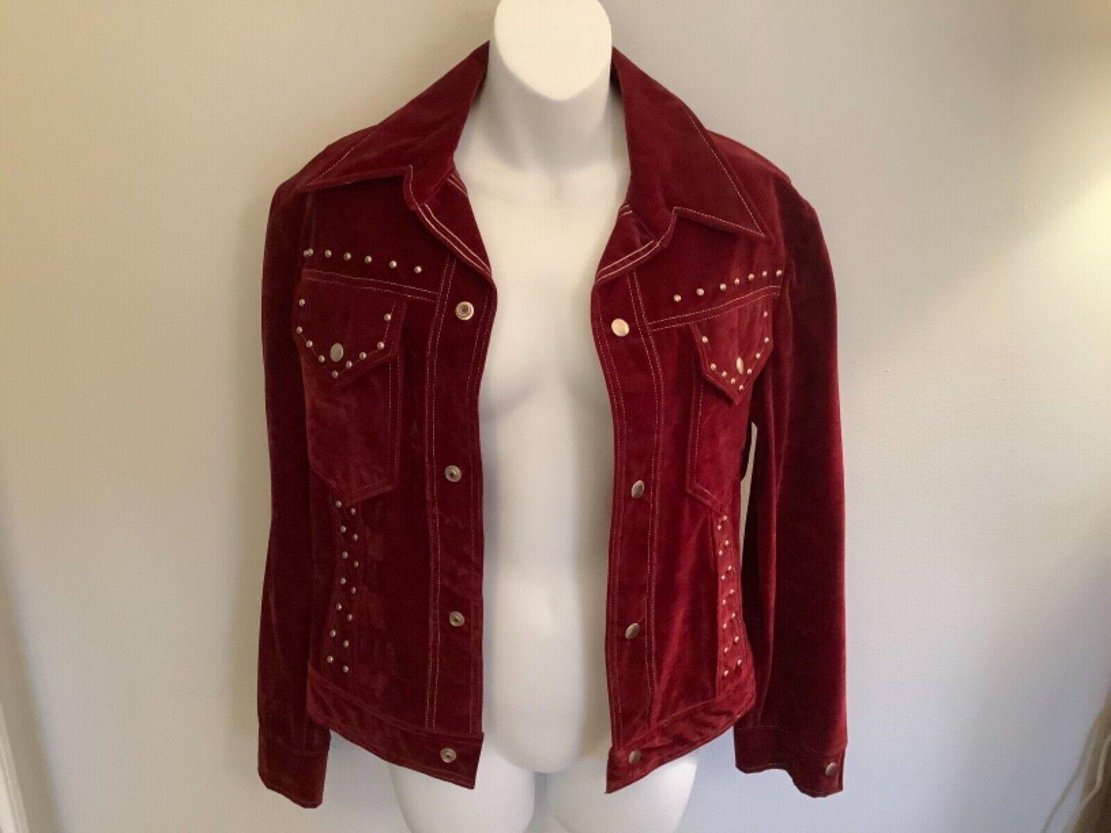 VINTAGE Women's Burgundy Red Velvet Blazer Jacket… - image 7