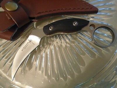 Arfione Custom Karambit Claw Dagger Knife 8mm Full Tang Leather Sheath G10 6""