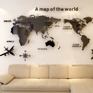 Acrylic World Map Wall Stickers For Office Living Room Classroom FREE SHIPPING !
