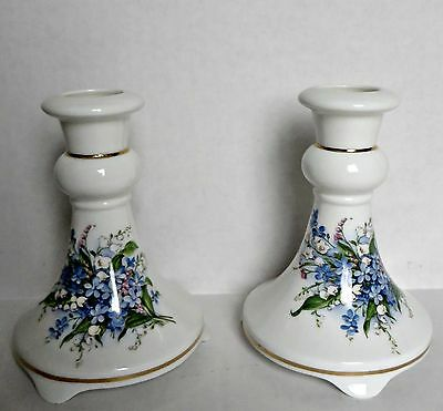 Vtg Peter Gosling English England Bone China Forget-Me-Not Pair Candle Holders
