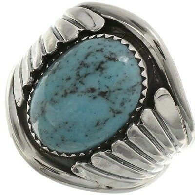 Navajo Classic Sterling Silver TURQUOISE RING Mens s9-13 Native American