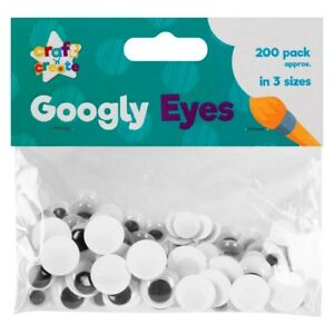 200 PACK GOOGLY WIGGLY WOBBLY EYES 3 DIFFERENT SIZES CRAFT CARDS EMBELLISHMENTS