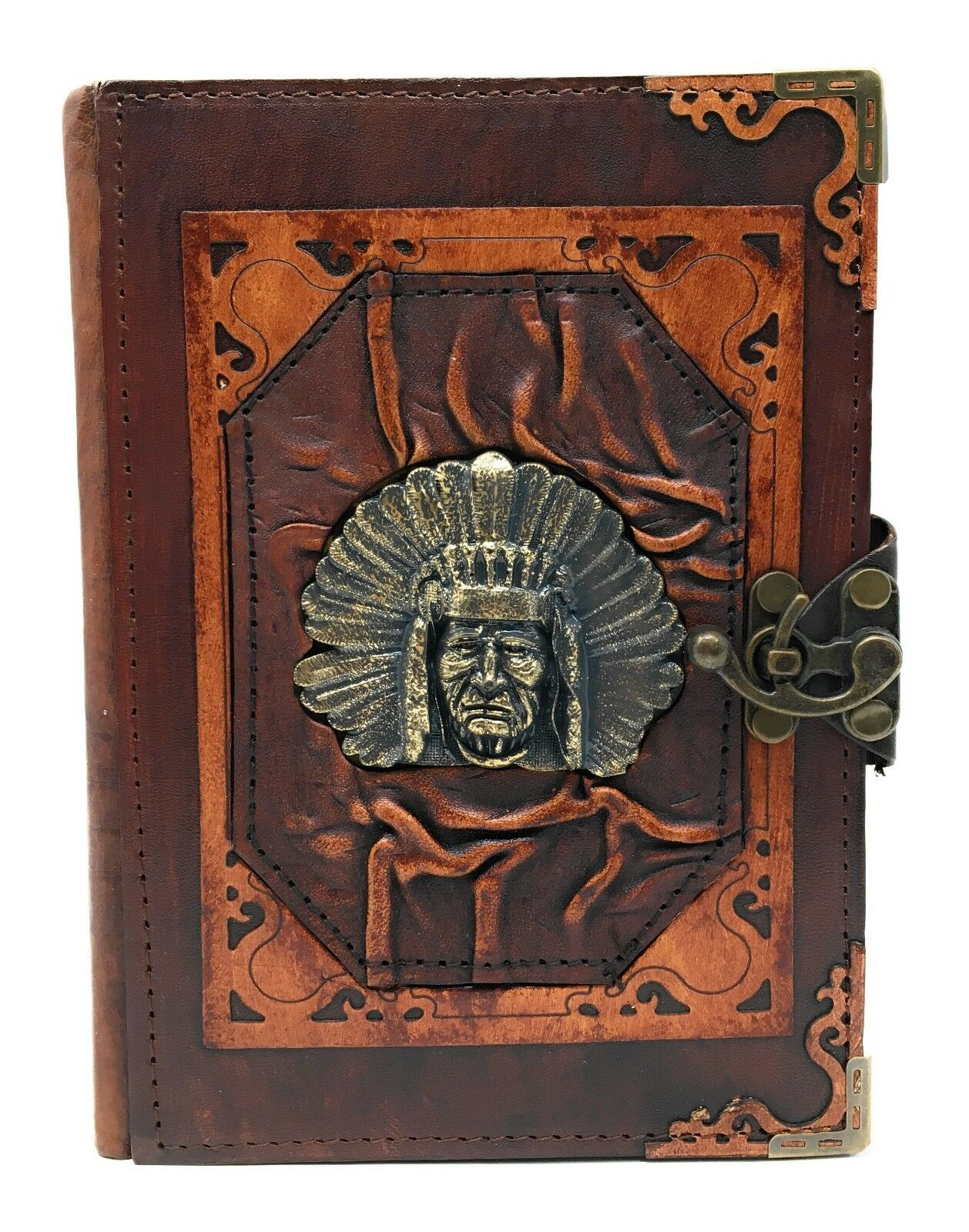 Handmade Genuine Leather Refillable Journal Diary Note Sketch Book Brown Indien