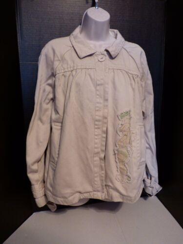 Disney Store Khaki Denim Tinkerbell Swing Jacket Size XL