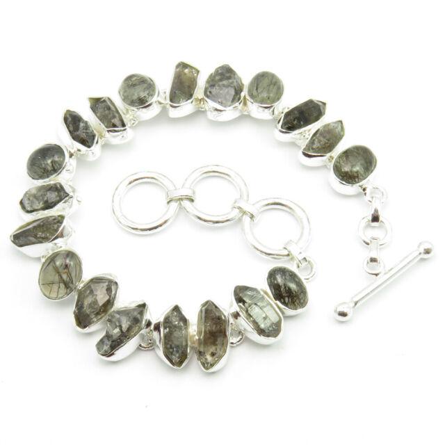 925 Sterling Silver Natural HERKIMER DIAMOND & BLACK RUTILE Bracelet 7.5 Inches