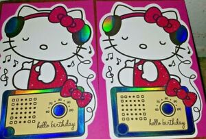 LOT-OF-2-AMERICAN-GREETINGS-HAPPY-BIRTHDAY-CARDS-HELLO-KITTY-MUSIC-HEADPHONES