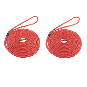 2 x 6 MTS OF 16MM RED SOFTLINE MOORING ROPES LINES BOATS WARPS