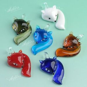 Fashion-Lampwork-Glass-Bead-Murano-Fox-Animal-Pendant-For-Necklace-Chain-Gift