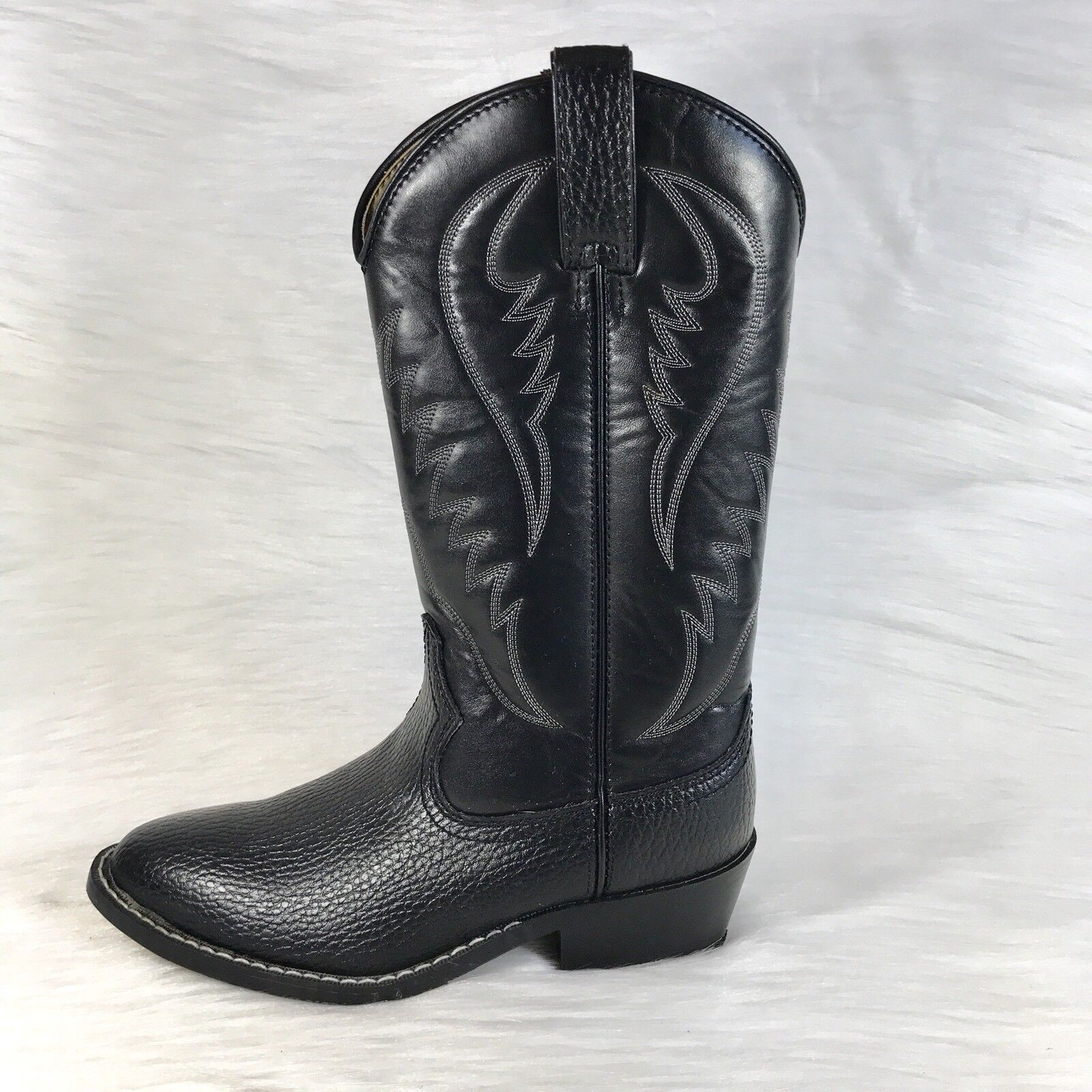 Express Rider para hombre botas De Vaquero Trivette Imitación Negro occidental de cuero