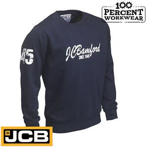 JCB-Heritage-Navy-Blue-Heavyweight-Crew-Neck-Sweatshirt-Jumper-Work-Wear-Trade