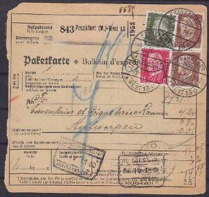 DR-Mi-Nr-420-414-417-MiF-auf-Ausland-Paketkarte-Frankfurt-Antwerpen-1930