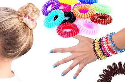 3x Haargummi Telefonkabel elastisch Zopfgummi Haarschmuck Spiralgummi