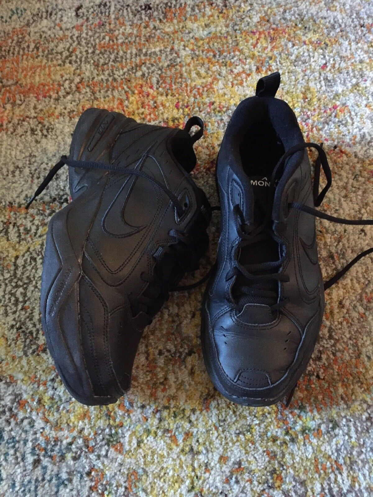 NIKE Air Monarch Black Men's Walking shoes Athletic Casual Leather Size 9US