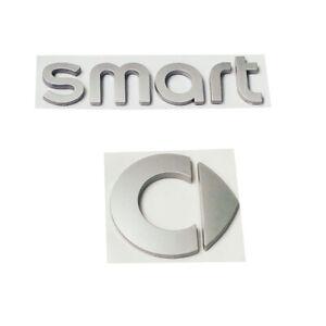 Smart-Logo-Auto-Aufkleber-Emblem-3D-Silber-Vorderseite-Kofferraum-Briefe-Badge