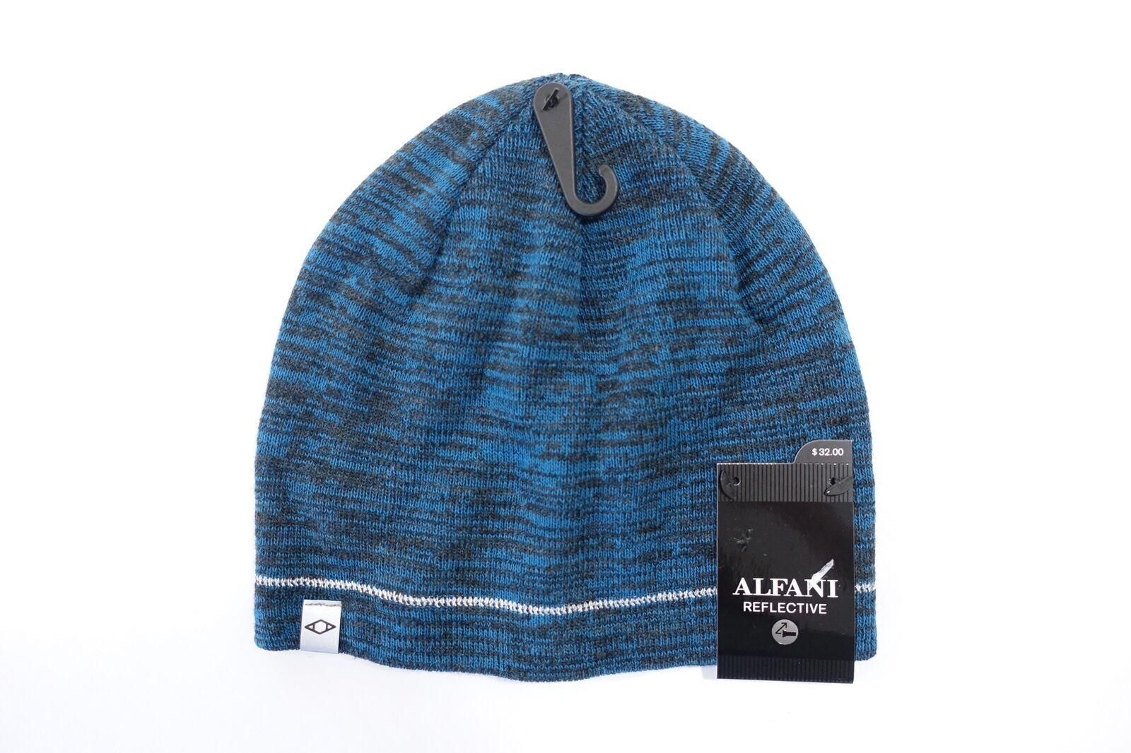 Alfani Reflective Blue Grey One Size otenkopf Hat Knitted Mens NWT