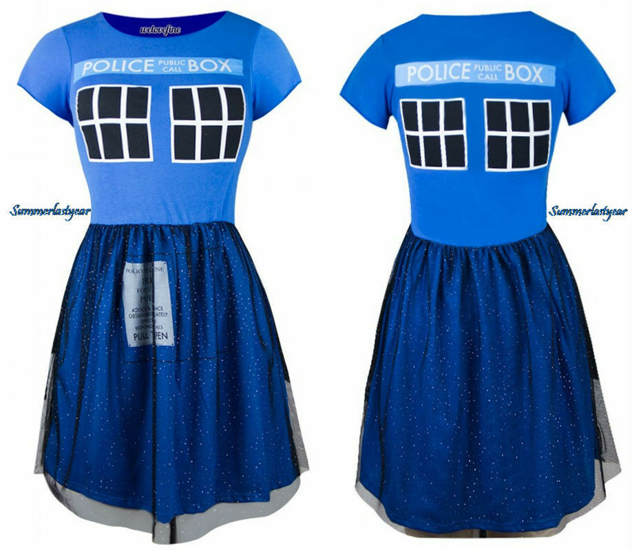 DOCTOR WHO TARDIS FIT & FLARE MINI DRESS WITH TULLE OVER LAYErot SKIRT FREE SHIP