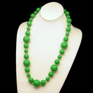Large-Chunky-Bright-Green-Beads-Necklace-Vintage-Long-26-5-Inches